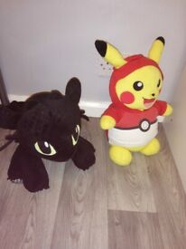 Pikachu and Toothless teddies