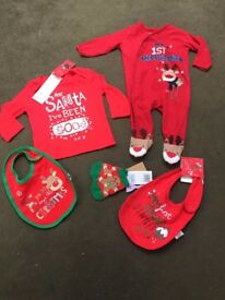 MY FIRST XMAS AGE 3-6 MONTH NEW BABGRO TOP 1ST CHRISTMAS DINNER BIB SOCKS BUNDLE BABY GIRL BOY POST