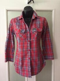 Ladies Superdry Shirt Size 10/12 Excellent Condition