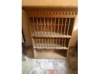 Antique wooden plate rack