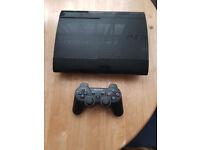 Sony Playstation 3 500GB Super Slim console Black. Wireless Dual Shock controller. Plus 8 games.