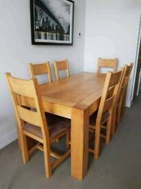 Furniture Village Solid Oak Table & 6 Chairs
