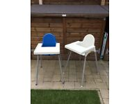 2 ikea highchairs with new padded seating £10 each