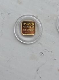 999.9 1 gram gold bar x2
