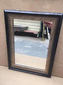 """small black & gold crackle framed mirror 17""""x13"""""""