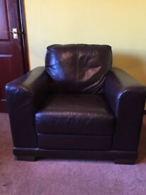 2 x Samba Brown Leather Armchairs
