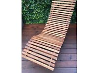 Indoor Outdoor Acacia Wood Swing Lounger / Long Chair