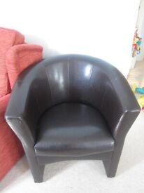 Brown Leather Armchair / Tub chair £30