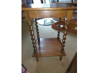 Oak side table with barley twist legs