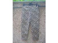 Ladies leopard print cigarette/capri pants for sale