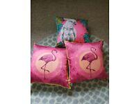 Set of 3 Silk Feel Decoration Pillows