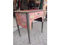 Small Vintage Desk restyled in red with birds and blossom