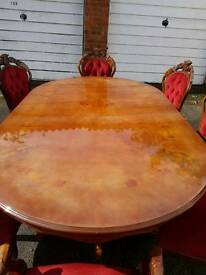 Beautiful Italian style dining table and 8 chairs!