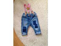 2 pairs of GIRLY NEXT JEANS 3-6months