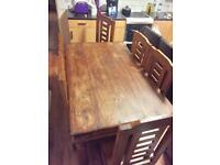 Real sheesham wood dining table with 6 chairs also known as Indian Rosewood