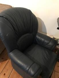 Blue faux leather arm chair