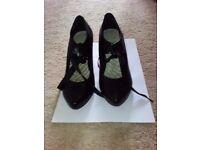 Clark's Black Heeled Ribbon Tied Shoes
