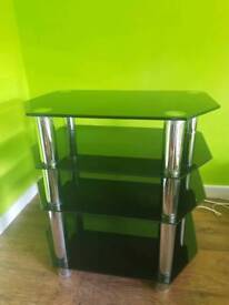 Tv table, black with glossy finish and chrome accent