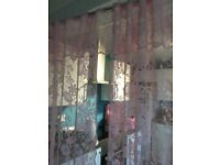 pink double shower curtain and roller blind