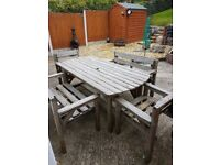 Garden table benches and chairs