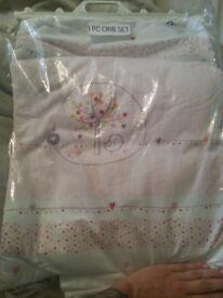 3 piece baby pink birdie crib set