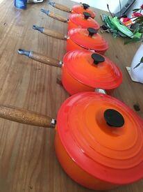Le Creuset set of 5 volcanic, cast iron sauce pans