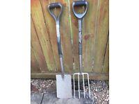 Garden spade & fork