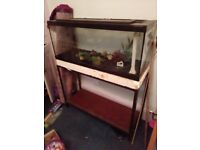 Large old fish tank complete with metal stand, heater, gravel and filter