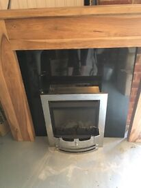 Flavel Gas Fire model FBFC37MN2 with back and oak fire surround and hearth