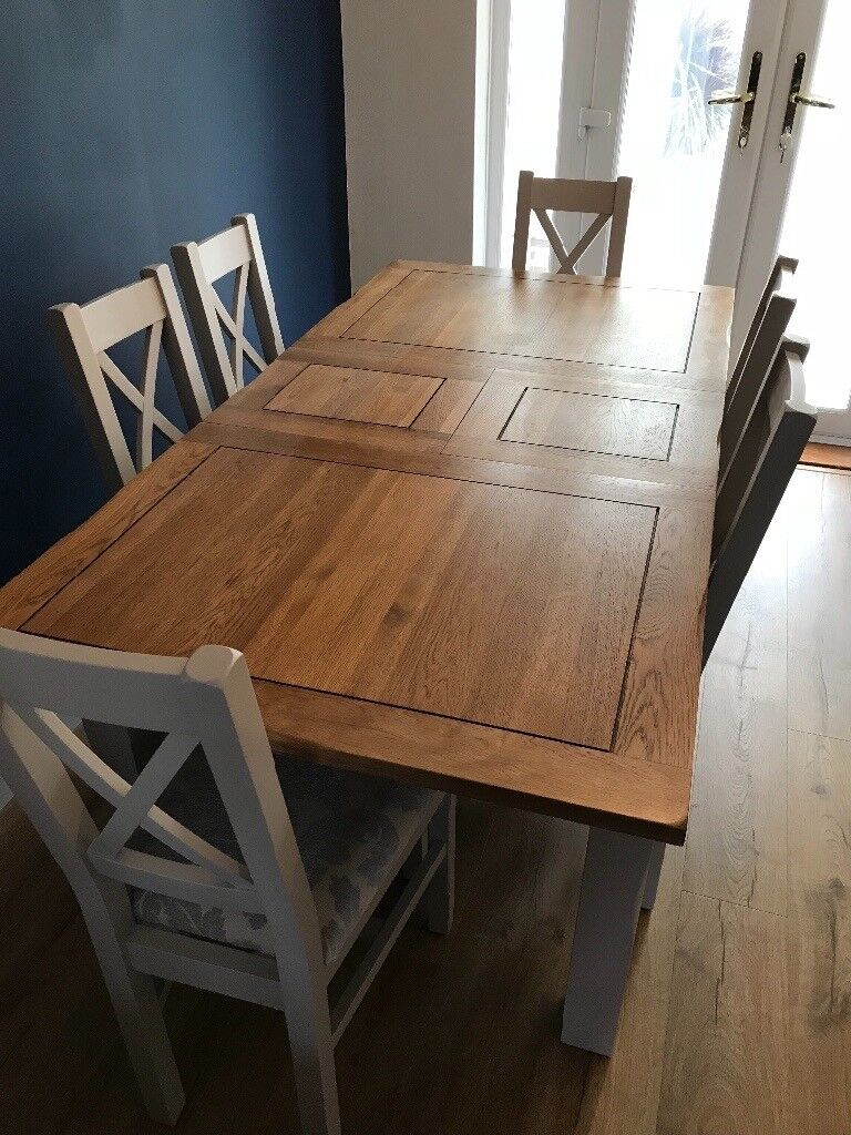 Rustic Solid Oak Painted Extendable Dining Table And Chairs In Witham Es Gumtree