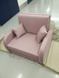 CLEARANCE Brand new one seater settee sofa bed pink color spring bed / free delivery