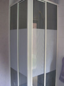 Glass & White Metal Square Corner Shower 2 Panel Enclosure LIKE NEW