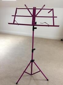 Pink adjustable music stand