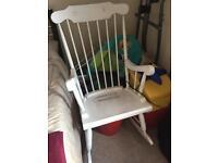 White wooden rocking chair/ nursing chair