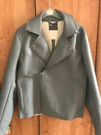 Men's grey leather jacket