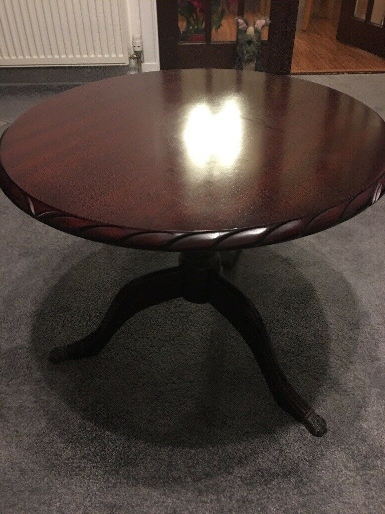 John COYLE Mahogany Rope Edge circular coffee table