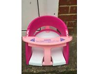 Baby bath seat pink and white