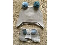The White Company Contrast Pom Pom Hat & Mitt - 12 to 24 Months - New & Unused