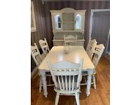 Dining table, chairs & matching cabinet