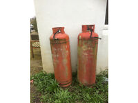 2 MACGAS PROPANE CYLINDERS - 1 EMPTY, 1 AT LEAST HALF FULL
