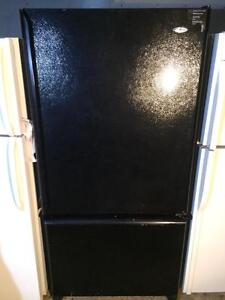 Amana Black Fridge With Bottom Freezer, FREE WARRANTY