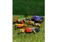 An array of nerf guns