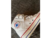 White leather converse trainers