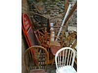 WOODEN WOOD PUB DINING KITCHEN CHAIR CHAIRS SEATS STOOLS- 10-15 IN TOTAL