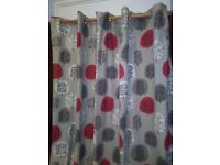 NEW JOHN LEWIS FULLY LINED PURE COTTON, EYELET TOP CURTAINS, IN MODERN CONTEMPORARY DESIGN 90 X 90