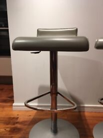 Bar Stools grey leathers with stainless bases