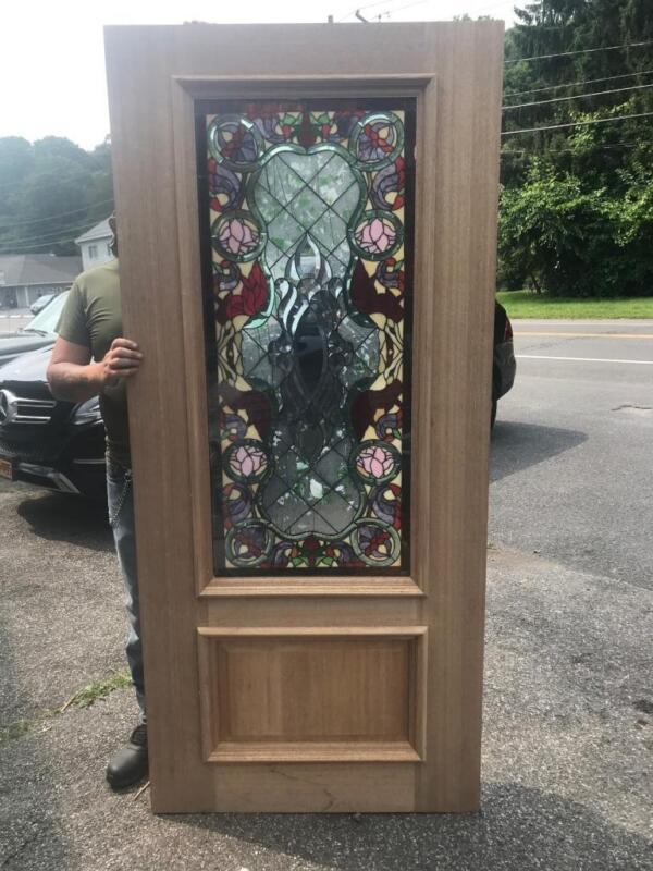 BEAUTIFUL HAND MADE CUT AND JEWELED STAINED GLASS  ESTATE DOOR - JB25