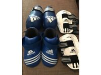 Adidas youth kickboxing semi contact gloves and foot guards