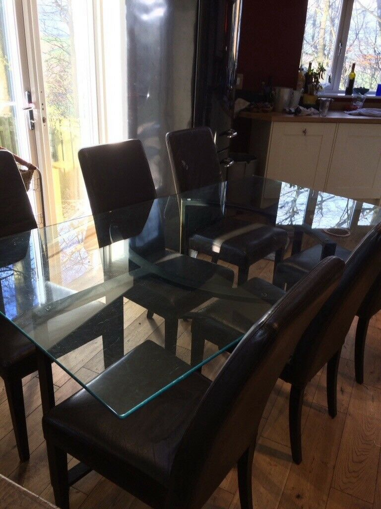 Glass Dining Table 100 6 Leather Chairs Perfect Condition 60