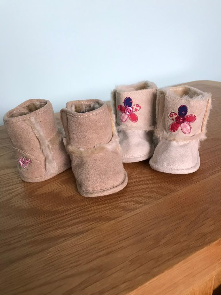 ef3d606b8f73b 2 Pairs Of New Baby Girls Booties 0-3 Months | in Ely, Cardiff | Gumtree
